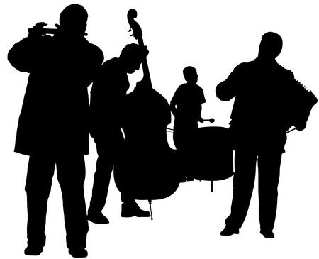 acordeón: Ilustración de las siluetas del músico