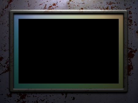 Illustrated Frame or monitor lit from above over a grunge background Stock Photo - 12977772