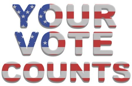 election debate: Illustrated text saying your vote counts with american flag texture