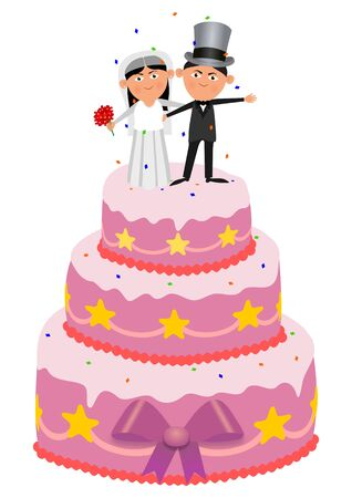 wedding cake: isolated illustration of a married couple on top of a wedding cake