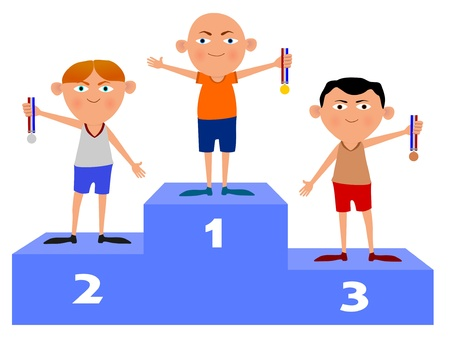 Illustration of three people standing on a sporting podium holding medals illustration