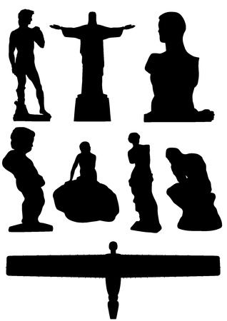 Illustration of 8 famous statues of the world illustration