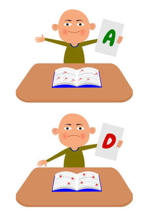 good and bad: Illustration of a child holding exam results Stock Photo