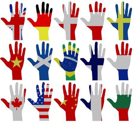 Archivio Fotografico - Illustrazione di 15 mani con texture bandiera 5472684bbca2