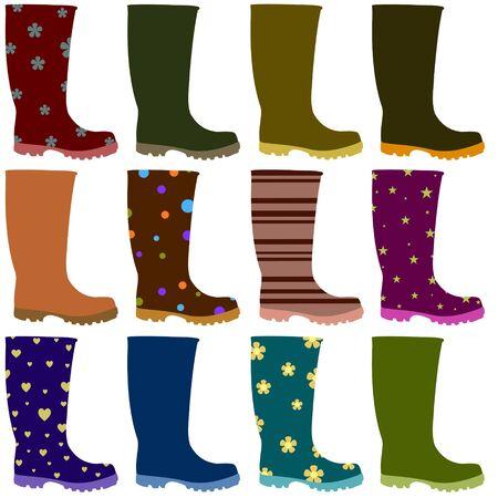 gumboots: Illustration of 12 Wellington boots Stock Photo