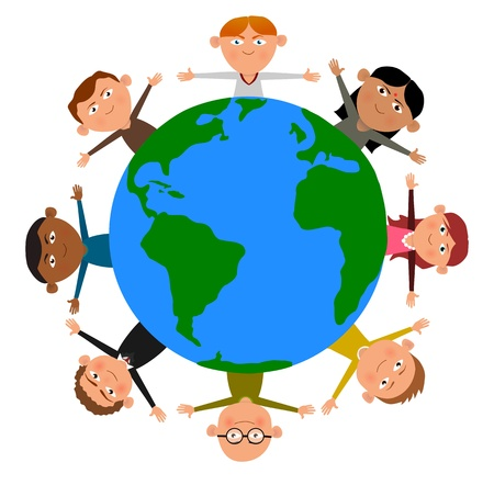 Cartoon Illustration of children surrounding the Earth illustration