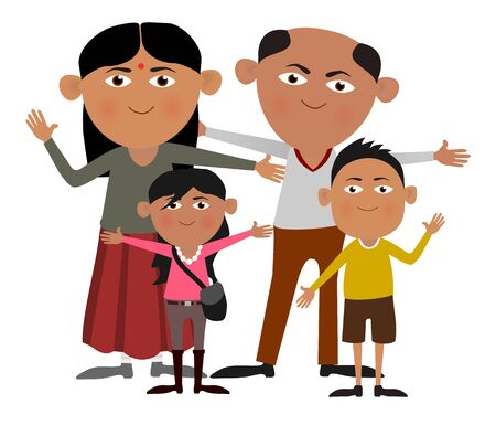 happy asian family: Illustration of an Indian family Stock Photo