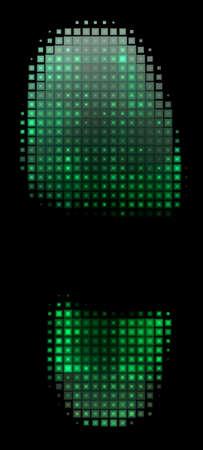 green footprint: Illustrated green footprint made of small squares Stock Photo