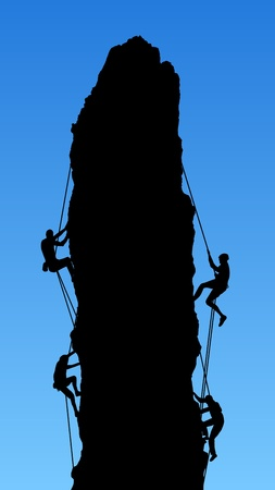 descending: Illustration of four people climbing a Rock Stock Photo