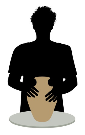 Illustration of a silhouette person using a potters wheel illustration
