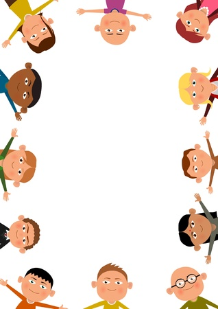 surrounding: Illustration of lots of children surrounding the page