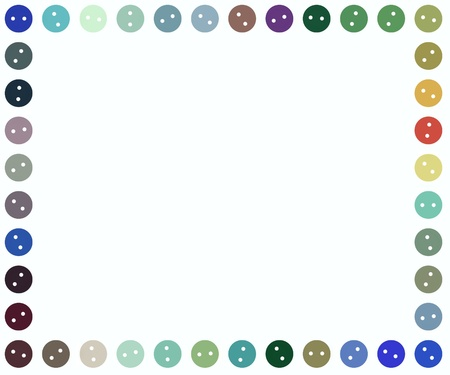 fasteners: Illustration of a frame made of illustrated buttons Stock Photo