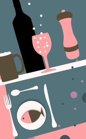 wine and dine: Abstract Illustration of food and drink Stock Photo