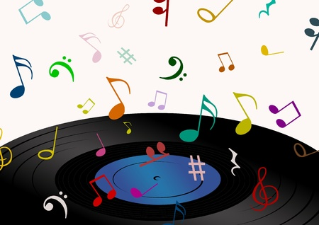 musical score: Illustration of a record with music symbols