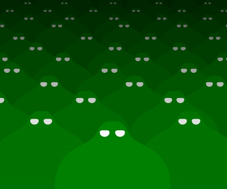 invading: Illustration of lots of green Aliens Stock Photo