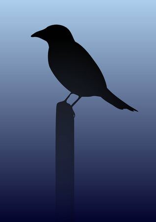 perched: Illustration of a black crow perched on a post