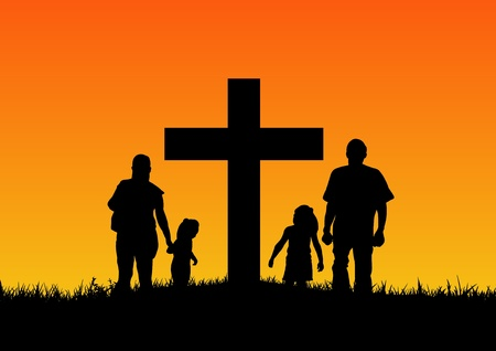 familia cristiana: Ilustración de una silueta familiar de pie junto a la cruz