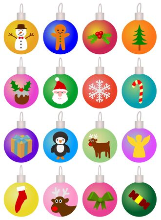 Illustration of 16 decorated Christmas baubles Stock Illustration - 16887258