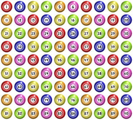 bingo: conjunto de 90 bolas de bingo ilustrados
