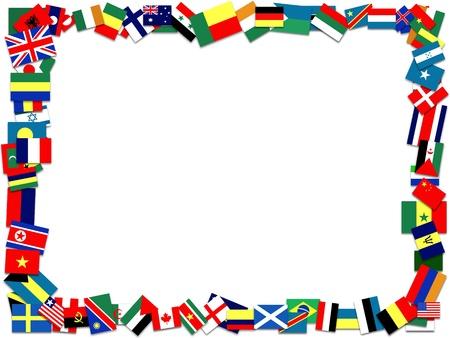 banderas del mundo: Un marco hecho de muchas banderas