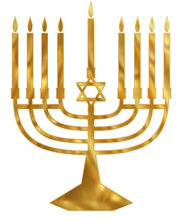 A golden Menorah candelabra photo