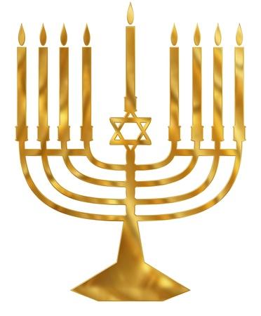 chanukah: A golden Menorah candelabra