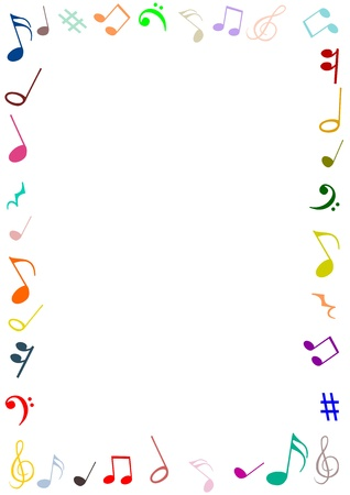 simbolos musicales: Un marco hecho de los s�mbolos musicales Foto de archivo