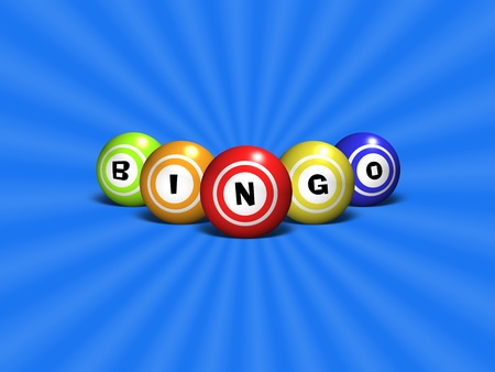 Bingo balls spelling out the word BINGO over a blue abstract background photo