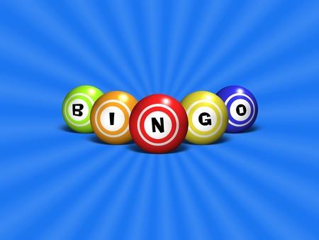 loteria: Bolas del bingo deletreando la palabra BINGO sobre un fondo abstracto azul