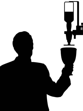 silhouette man holding a very large wine glass under a drinks optic Stock Photo - 17741263