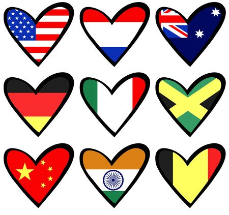 nine heart shaped flags photo