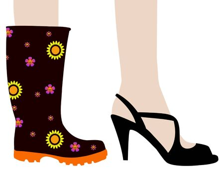 welly: Illustration of two feet. one wearing a Wellington boot and the other wearing a high heel shoe
