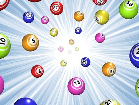 lotto: Illustration of Bingo balls over a blue starburst background Stock Photo