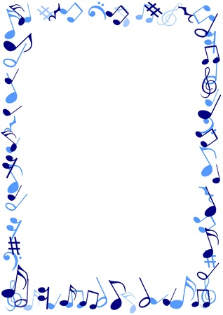 musical notes: Illustration of a frame made of blue musical notes