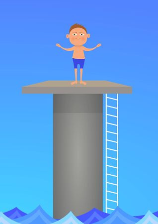 diving platform: Illustration of a boy standing on a diving platform