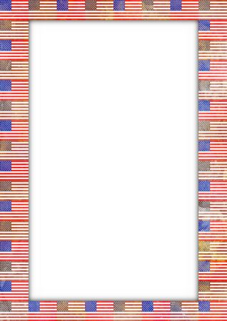 patriotic border: Illustration of a border made of USA flags