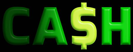 replaced: The word CASH with the letter S replaced with a dollar sign