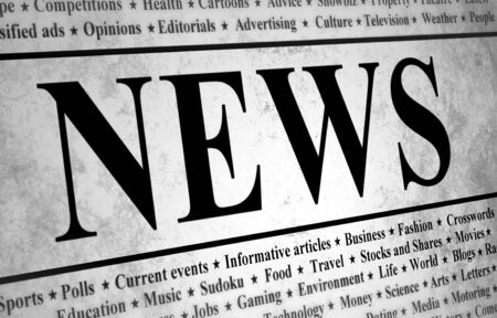 news event: Illustrated of a newspaper with news related text Stock Photo