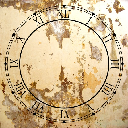 Illustrated clock face with Roman numerals and grunge texture photo