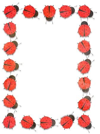 Illustrated frame made of many Ladybugs