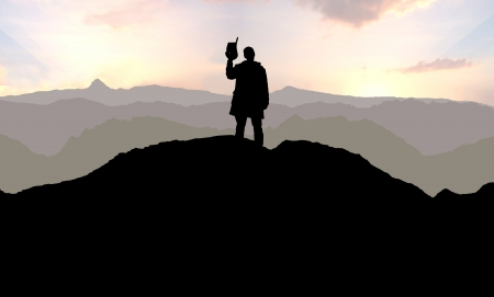 lonesome: Illustration of a Cowboy alone on a mountain top Stock Photo