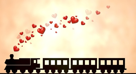 Illustration of a train with love hearts