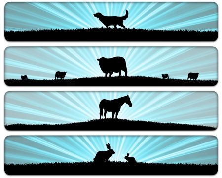 rabbit silhouette: four illustrations of animals in fields Stock Photo