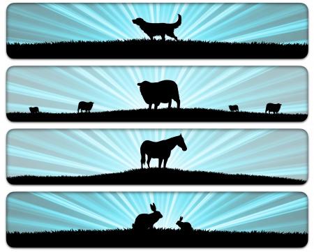 lapin silhouette: quatre illustrations d'animaux dans les champs