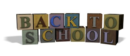 Illustration of wooden blocks spelling out the words BACK TO SCHOOL illustration