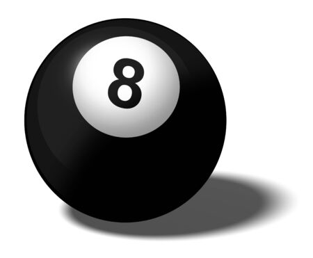 Illustration of a pool ball marked with the number 8 illustration