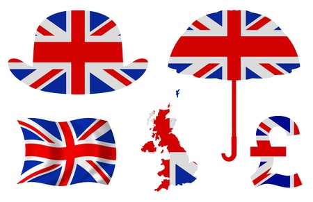 Illustration of five United Kingdom related items illustration