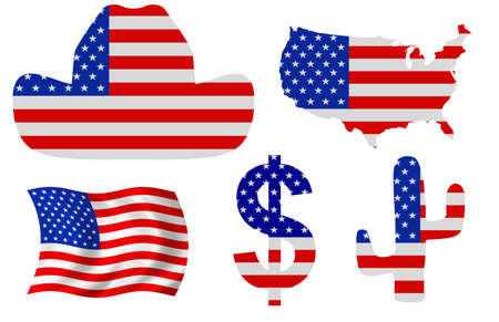 yankee: Illustration of five United States related items