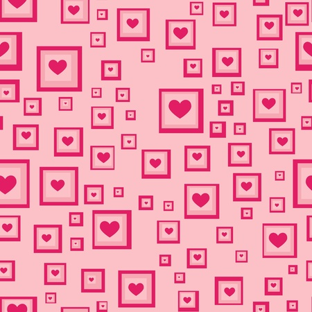 Illustrated retro background containing squares filled with heart shapes photo
