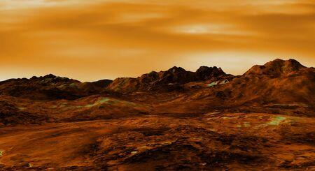 barren land: Illustration of a Venus landscape